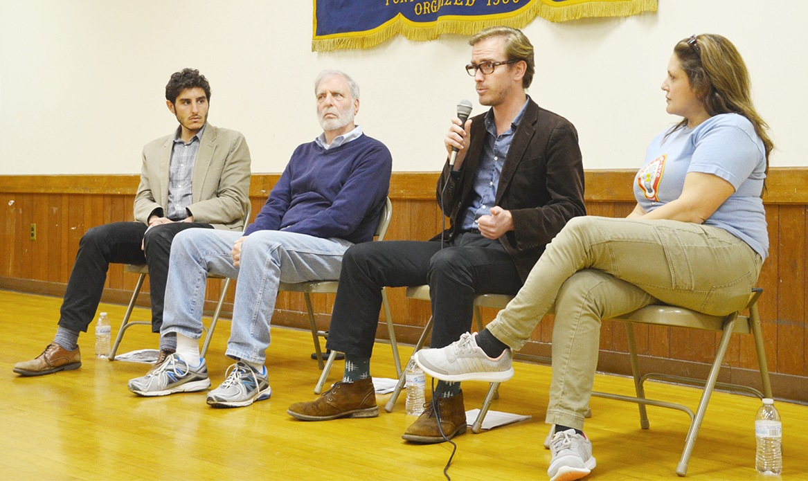 Four experts came to the Knights of Columbus Hall on Thursday, Nov. 17 to weigh in on how they felt about how Starwood Capital Group was handling the former United Hospital site. From the left are Ben Bennett, Richard Hyman, Dave Hancock and Celene Batancur. Casey Watts|Westmore News