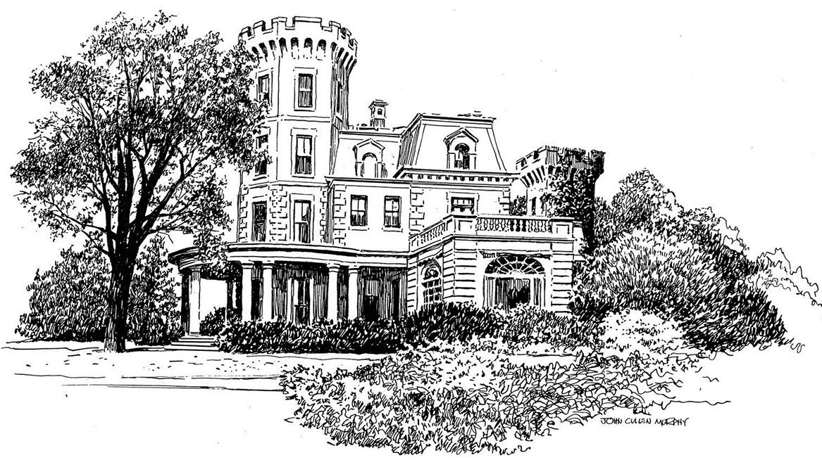 "Ward's Castle in Rye Brook is one of the artworks in the exhibition Masterpieces from the Museum of Cartoon Art at the Bruce Museum in Greenwich thru Apr. 20. See ""Exhibits"" for details."